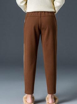 Casual Elastic Waist Thick Long Pencil Pants