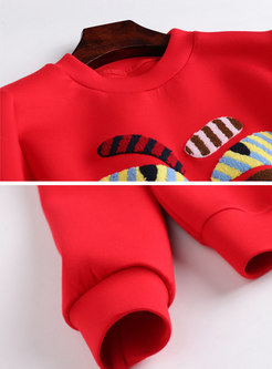 Fashion Cartoon Pattern O-neck Loose Sweatshirt