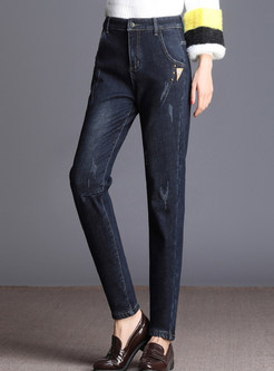 Winter Stylish Plus Velvet Denim Pencil Pants