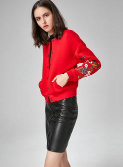 Stylish Embroidered Stand Collar Single-breasted Short Coat