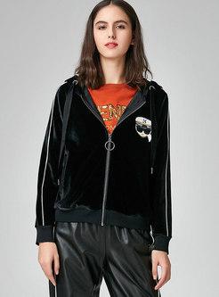 Casual Color-blocked Hooded Zipper Velvet Coat