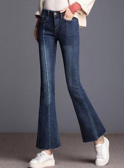 Winter High Waist Plush Slim Flare Denim Pants