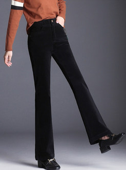 Brief Solid Color Thicken Flare Pants