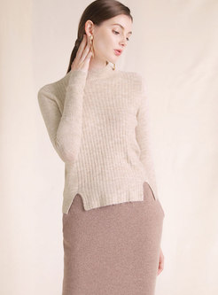 Chic High Neck Long Sleeve Split Knitted Sweater