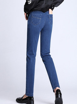 Solid Color Elastic Waist Denim Long Pants