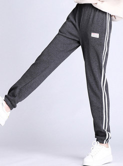 Casual Elastic Waist Striped Plus Size Pants