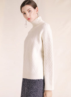 Autumn White Turtle Neck Texture Loose Sweater