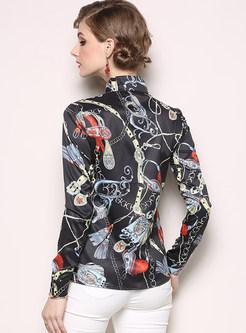 Stylish Lapel Long Sleeve Print Blouse