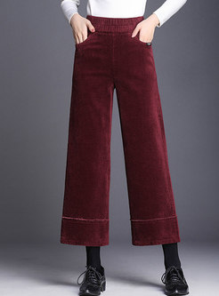 Casual Corduroy Elegant Waist Wide Leg Pants