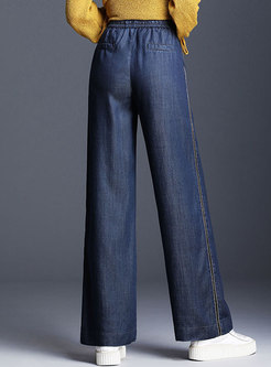 Denim Color-blocked Tied-waist Wide Leg Pants