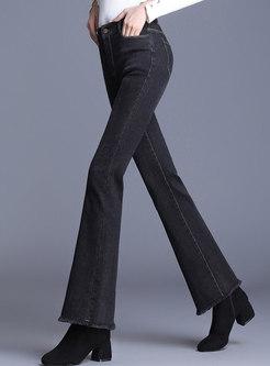 Brief Black Denim Rough Selevedge Flare Pants