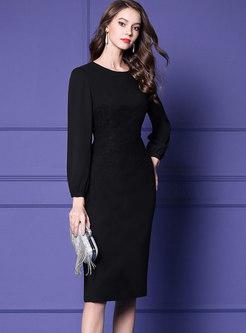 ... Autumn Crew-neck Lace-paneled High Waist Sheath Dress 8a7703444