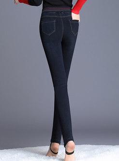 Denim Elastic High Waist Slim Thick Pencil Pants