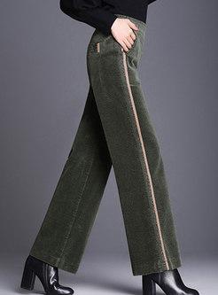 Vintage Corduroy Patchwork Elastic Waist Wide Leg Pants
