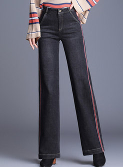 Black Denim Splicing High Waist Elastic Straight Pants