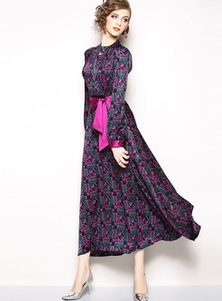 Standing Collar Lantern Sleeve Geometric Print Maxi Dress