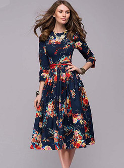 Retro Autumn Party Print A Line Dress
