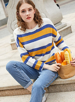 2ade46901 Sweet Color-blocked Striped Loose Sweater ...