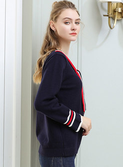 Trendy Color-blocked O-neck Bowknot Loose Sweater