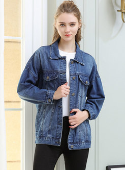 Oversize Denim Lapel Embroidered Single-breasted Short Coat