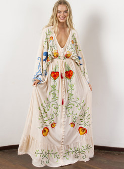 Ethnic Embroidered Plus Size V-neck Loose Dress