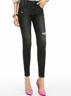 Trendy Black Denim Pants With Ripped Detailing