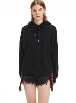 Stylish Black Hooded Cotton Long Sleeve Hoodies With Drawstring