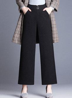 Stylish Black High Waist Thick Wide Leg Pants