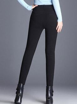 Stylish Black Thick High Waist Pencil Pants
