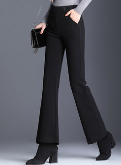 Winter Solid Color High Waist Flare Pants