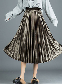 Pure Color Gold Velvet Pleated A Line Skirt