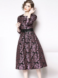 O-neck Long Sleeve Jacquard Skater Dress