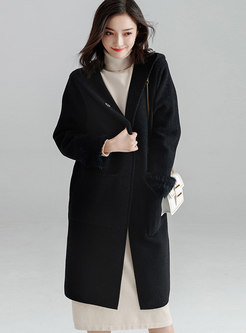 Black Hooded Double-sided Cashmere Overcoat