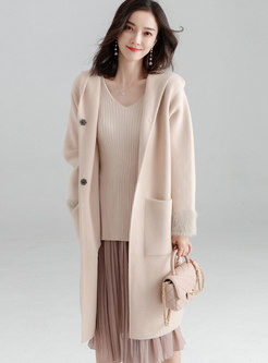Autumn Apricot Hooded Double-sided Cashmere Thicken Coat