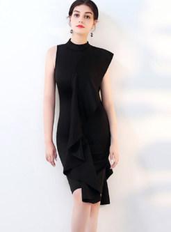 Standing Collar Falbala Sleeveless Sheath Dress