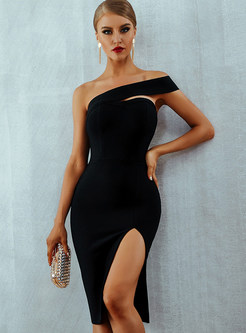 Sexy Off Shoulder Slit Bandage Dress