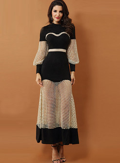 O-neck Long Sleeve Beaded Hollow Out Dress