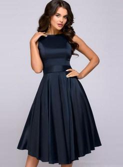 Elegant Sleeveless Hepburn Style Slim Waist Dress