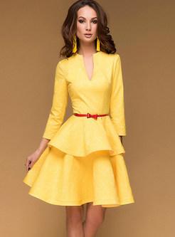 Solid Color Deep V-neck Falbala A Line Dress