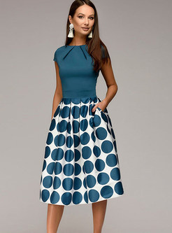 Short Sleeve Splicing Polka Dot A Line Dress