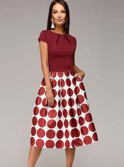 Short Sleeve Splicing Polka Dot A Line Dress