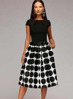 Short Sleeve Splicing Polka Dot A Line Dress 26eeda710046