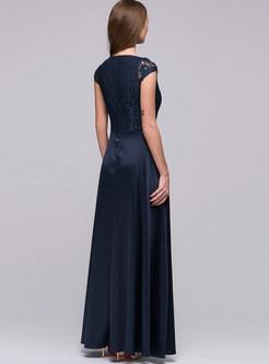 Solid Color O-neck Sleeveless Big Hem Slit Dress