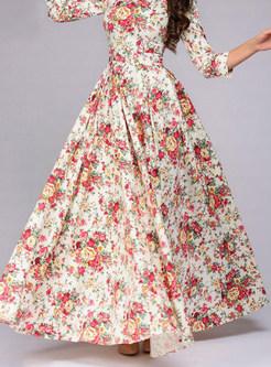 Three Quarters Sleeve Waist Big Hem Dress