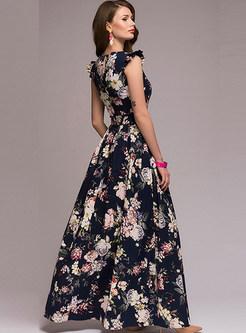 Fashion Sleeveless Big Hem Print Prom Dress