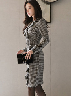 Autumn Notched Houndstooth Double-breasted Sheath Dress