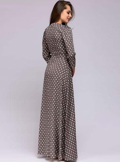Trendy Polka Dot Long Sleeve Big Hem Dress
