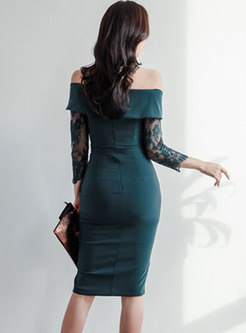 Sexy Dark Green Slash Neck Lace Sleeve Bodycon Dress