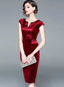 Formal Red V-neck Sleeveless Bodycon Dress