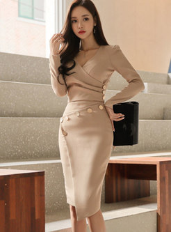 V-neck Long Sleeve Top & Asymmetric Sheath Skirt